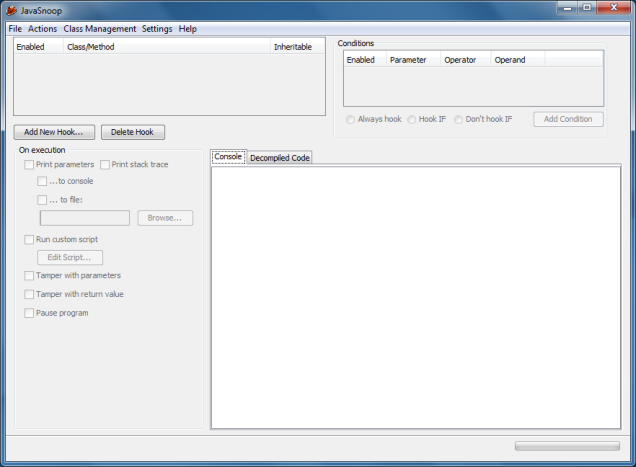 JavaSnoop main interface