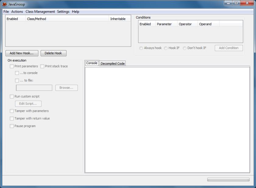 JavaSnoop main interface