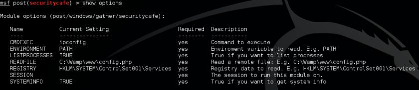 Metasploit post exploitation module options