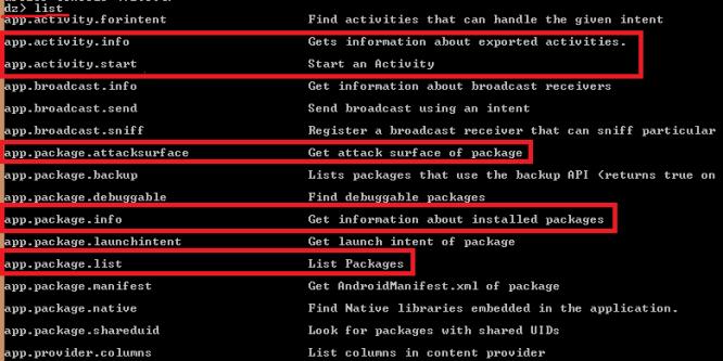 drozer list commands