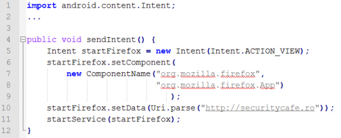 Java code for starting an activity from another package