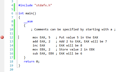 ASM code in Visual C++