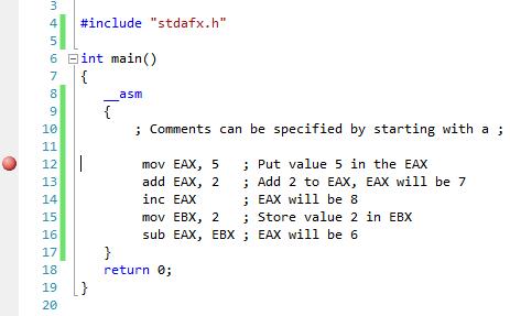 ASM code in Visual C++