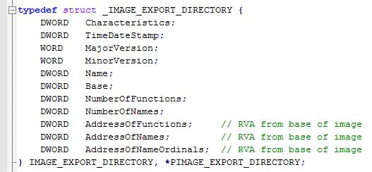 IMAGE_EXPORT_DIRECTORY